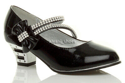 Girls Kids Childrens Low Heel Strap Bow Party Evening Bridesmaid Shoes Size 10