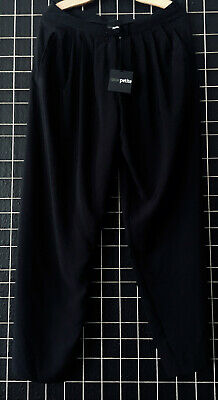 BNWT Asos Petite Black Pleated Floaty Wide Leg Trousers Size Uk 14