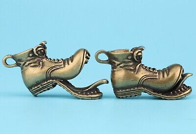 2 Retro Chinese Bronze Statue Solid Shoes Pendant Mascot Old Collection Gift
