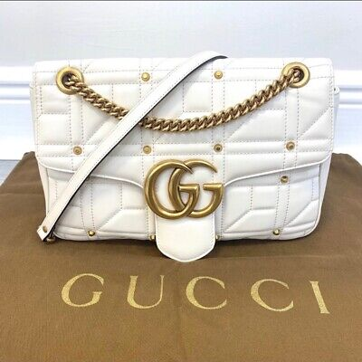 GUCCI Marmont white gold studded GG logo quilted shoulder chain handbag