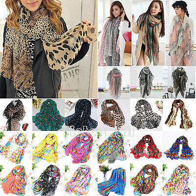 Women Chiffon Soft Floral Print Long Neck Large Scarf Wrap Shawl  Flower Scarves