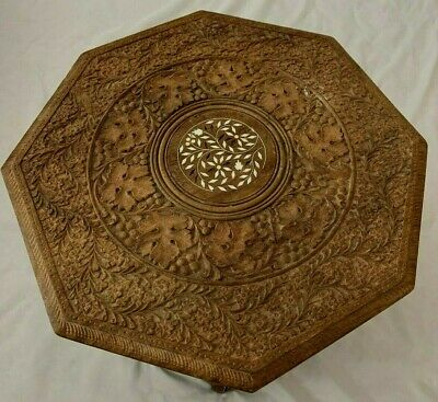 """Carved Wood 18X18"""" Asian Folding Octogon Inlay Table - 2 Piece"""