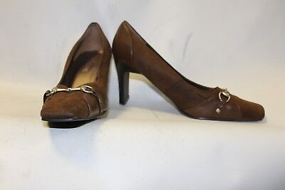 Ladies Brown Shoes with Buckle Detail Size 6 Fiore Court Heels