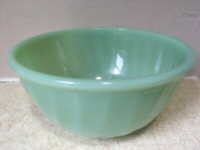 """Jadeite GREEN Swirl FIRE KING Mixing Bowl 6"""" SMALL Ribbed EXCELLENT Jadite NEST"""