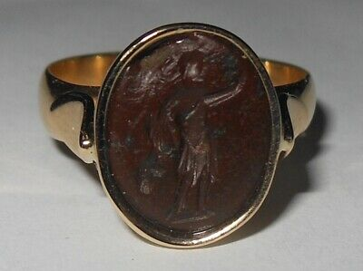 Authentic Roman Imperial gem Mercury Sol Invictus jasper intaglio 9 kt gold ring