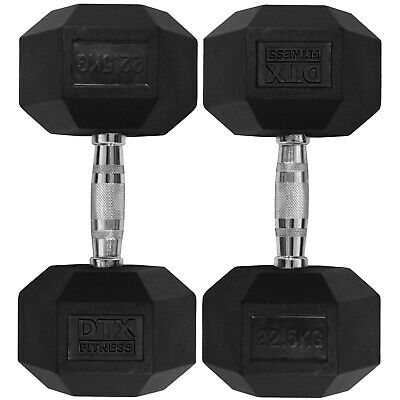 DTX Fitness 2x 22.5kg Rubber Encased Dumbbell Hex Weights Dumbell/Gym Workout