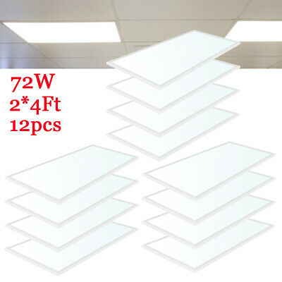 12PCS Heavy Duty 72W 2x4Ft Ultra-thin LED Ceiling Panel Light  Mount Office Home