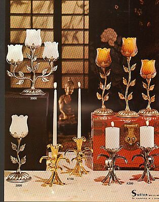 1975 Vintage Ad Sheet #915 - Sutton Retro - Leaves  Candlesticks
