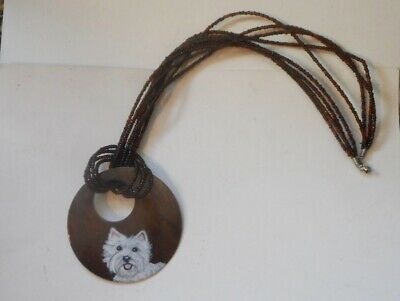 West Highland White Terrier Dog Necklace Hand Painted Wooden Pendant Jewelry