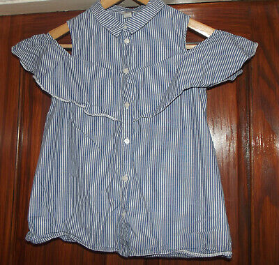 Girls Blue & White Pinstripe River Island Top Age 12 Years