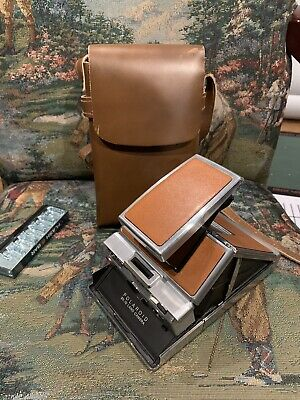 Vintage Polaroid SX-70 Instant Film Land Camera Brown Leather & Chrome w/Case