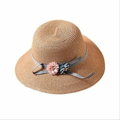 Korean Flower Hat Double Ribbon Bow Parent-child Hat Baby Girls Beach Straw Hats