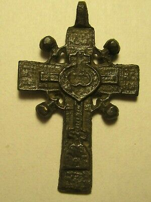 Medieval Byzantine Bronze Pendant Celtic Cross Style Crucifix Orthod.  lot № K51