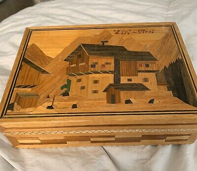 Antique Austrian Hand Carved Cigar Inlay Box