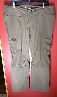 REI Convertible Cargo Pants Womens Size 16 Zip Off Hiking Fast Dry Stretch Khaki