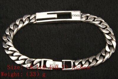 925 Silver Solid Silver Real Silver Bracelet Old Hand-Carved Mascot Gift