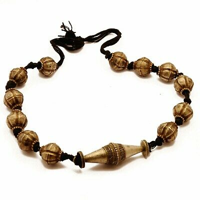 "Antique Nepalese Old Naga Tharu Necklace 22"" Ethnic Tribal Handmade Nepal UN28"