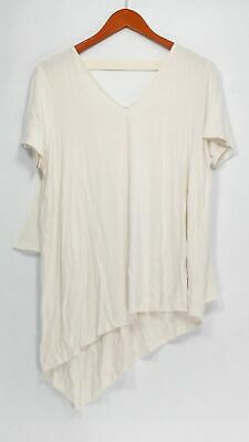 Lisa Rinna Collection Top M Short Sleeve V-Neck T + Chiffon Detail Ivory A303168