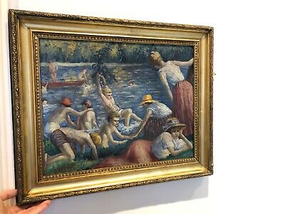 Really Old Painting Oil On Canvas Late 19th Century Early 20th Signed H.S.T.
