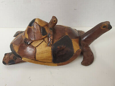 Wooden Carved Turtle with Baby Turtle on Her Back