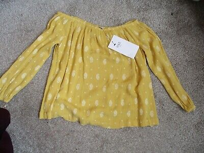Marks And Spencer Girls Ochre Off The Shoulder Bardot Top Aged 5/6 Years Bnwt