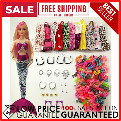 33 Pack Barbie Doll MERMAID Clothes Party Outfits Shoes Glasses Necklaces Girls