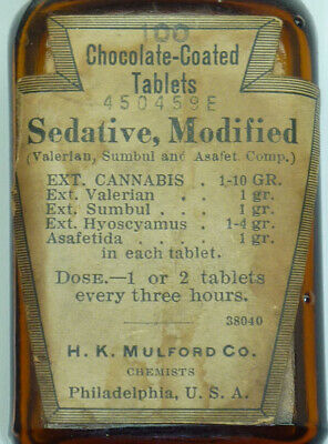 antique bottle - Cannabis Sedative Tablets - chocolate covered - H.K. Mulford