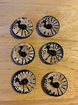 """Antique Oriental Peacock 6 Buttons Buffalo Horn 3/4"""" Hand carved Unused"""