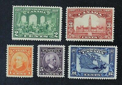 CKStamps: Canada Stamps Collection Scott#141-145 Mint 2NH 3H OG #144 Tiny Thin