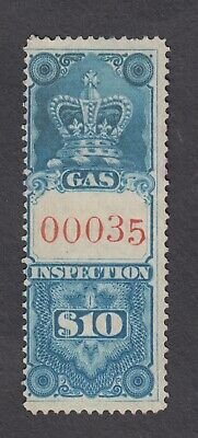 KV406. Canada Stamps. 1870s Gas $10 Inspection LOW SERIAL NUMBER. 00035 Used.