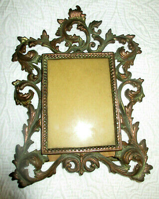 Ornate Antique Gilt Cast Iron Picture Frame Victorian Rococo WITH GLASS NR