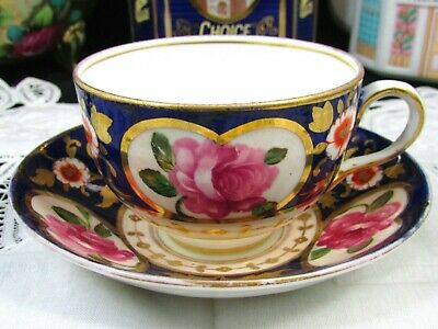 Crown Staffordshire Cobalt & Pink Roses Gold Tea Cup And Saucer