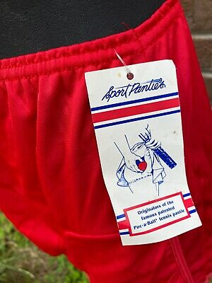 Vtg Sport Panties Poc-A-Ball Tennis RED 2 Ball Pockets Sz 5 Nylon HI Waist-FS