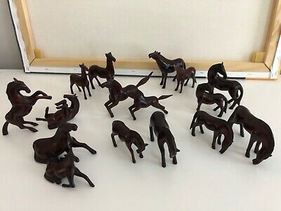 Horse Lovers Hand Carved in Black Hills Rare 1970s set of 16 with 8 poses.