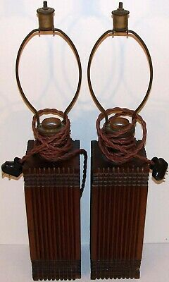 Vintage table lamps EARLY SOLID OAK wood matched pair arts crafts mission style