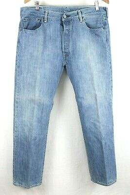 Levis 501 Mens Classic Button Fly Light Wash Blue Jeans Size 36x29