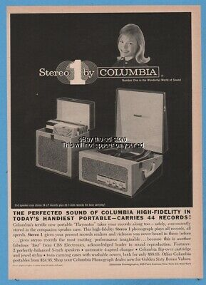 1960 Columbia Phonograph Playmates portable record player PHOTO speaker case ad