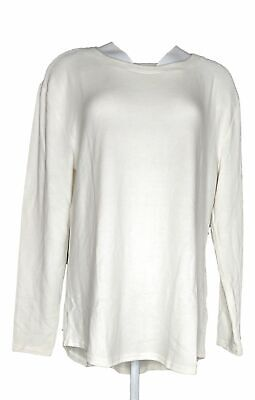 Lisa Rinna Collection Women's Top Sz L Hacci Curved Hem Tee Ivory A341720