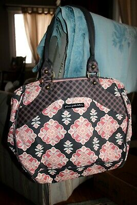 Petunia Pickle Bottoms Diaper Bag gray peach pink mixed fabric used once!