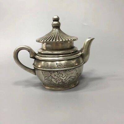 Chinese Antique White copper sculpture pagoda teapot flagon