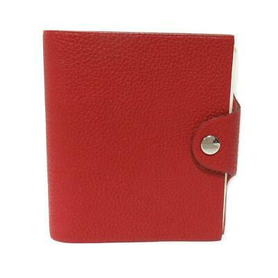 Authentic HERMES Ulysse mini notebook cover Togo leather Rouge Vif Used Ladies
