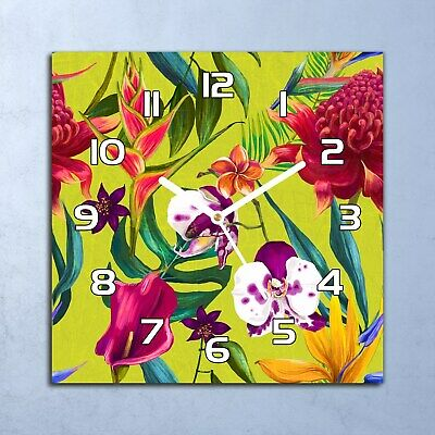 Glass Clock 30x30 Wall Home Secret Garden Pansies Floral Colourful Flowers Pansy