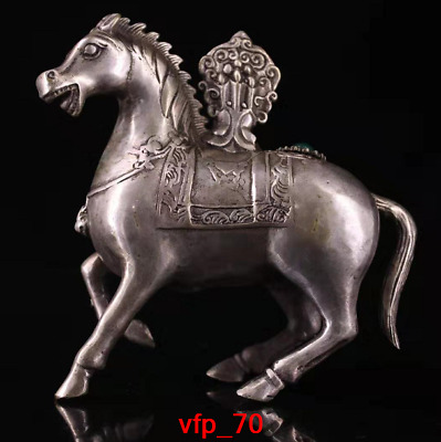 Old China antique Pure copper Set gemstone Horse carving statue