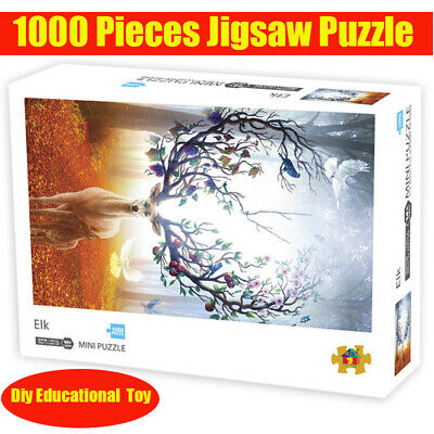 Elks Puzzle Toys Adult Kid 1000 Piece Mini Wooden Jigsaw Decompression Game Gift
