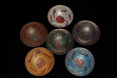6pc Chinese Antique Tibetan Custom Brass Painted Small Bowl