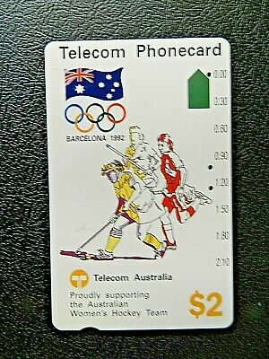 $2 1992 Barcelona Olympic Australian Womens Hockey Team Telecom Phonecard