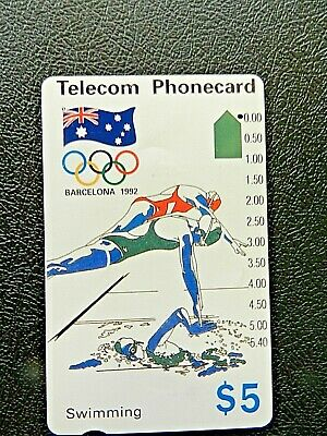 $5 1992 Barcelona Olympic Swimming Telecom Phonecard
