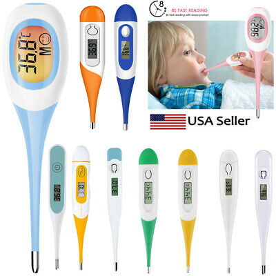 Digital LCD Thermometer Medical Teal Body Safe Soft Electronic Thermometer NEW