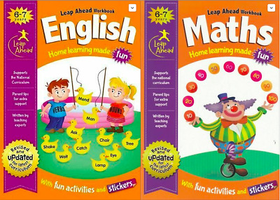ENGLISH and Maths Leap ahead Home Learning Workbooks For Kids Age 6-7 years New
