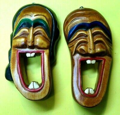 """Vintage Pair Sold Wood Carved Laughing Tiki Faces-Wall Plaques 5.5"""" tall"""